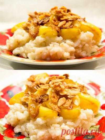 Запеканки: Рисовый пудинг с карамельными яблоками и хлопьями миндаля