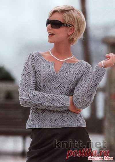 . Пуловер с V-образным вырезом горловины - Вязание - Страна Мам