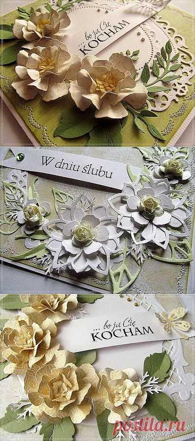 Цветы на свадебных открытках.