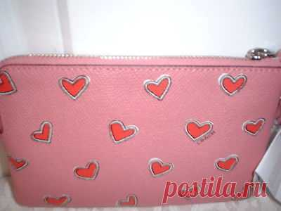 NWT Coach Heart Crossgrain Wristlet Wallet 52920 Pink   eBay