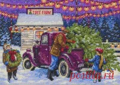 схема для вышивки крестом новогоднего пейзажа Магазин праздничных деревьев