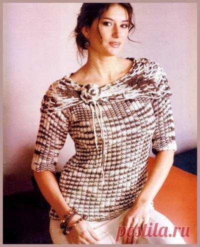 Женский джемпер спицами из пряжи секционного окрашивания - 1 Февраля 2011 - Вязание спицами, модели и схемы для вязания на спицах