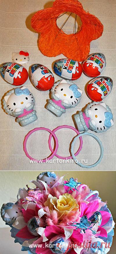 2442c5d3c680d Как сделать детский букет из киндер-сюрпризов и игрушек | БУКЕТЫ ИЗ ...