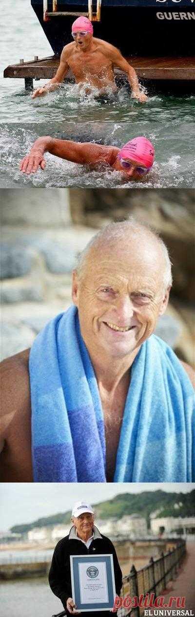 Британский хирург на пенсии Роджер Олсоп в возрасте 70 лет и 4 месяцев переплыл пролив Ла-Манш. На преодоление более 30 километров вплавь смельчаку потребовалось почти 18 часов