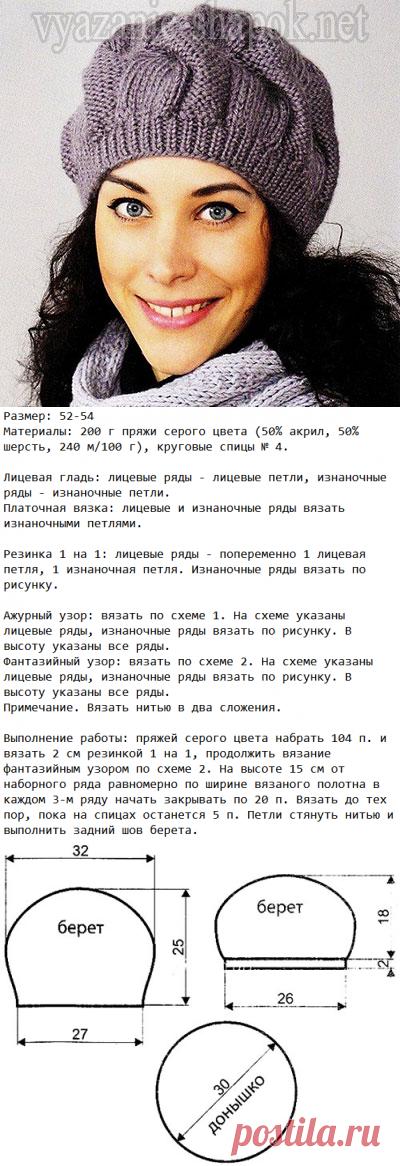Береты с подробным описанием вязания