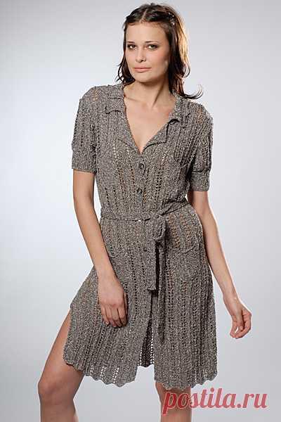 Ажурное платье-рубашка