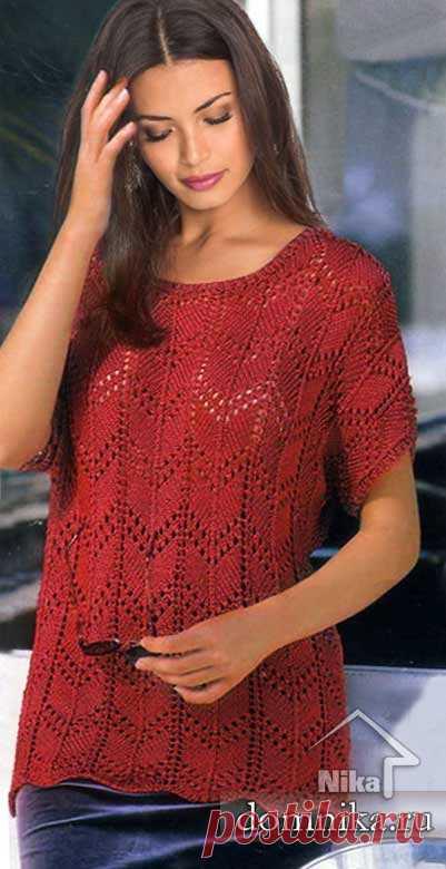 Вязание для полных женщин: летняя кофточка спицами