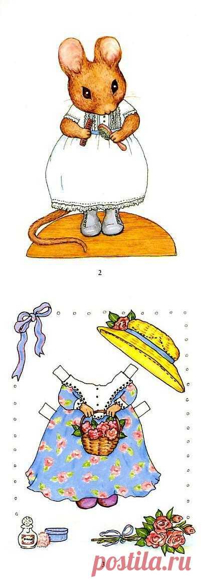 Бумажная мышка с нарядами.