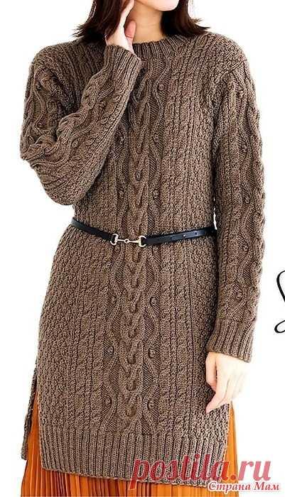 Удлиненный свитер с разрезами и рельефными узорами. Спицы. https://www.liveinternet.ru/