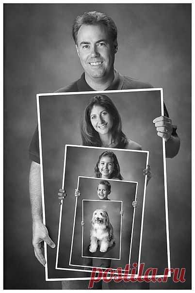 Как вам такая идея для семейного портрета? Папа, конечно, главный!:)