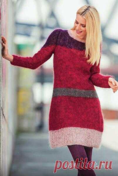 Цветное контрастное платье из мохера спицами