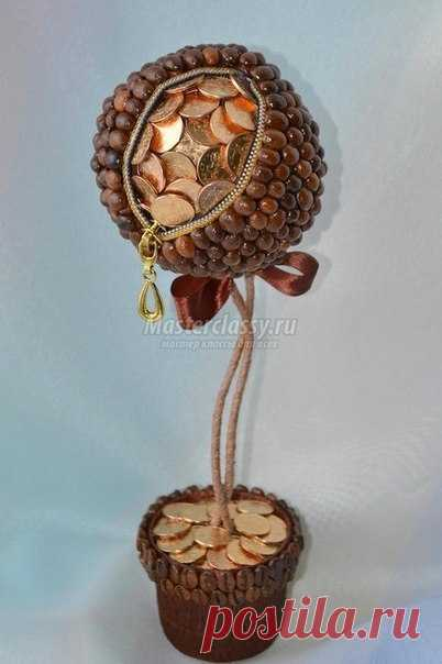 Кофейный топиарий с монетами. Мастер-класс / Рукоделие