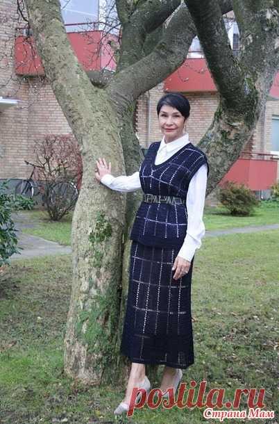 Костюм: юбка и жилет. Филейное вязание. Крючок. Irina Horn - Вязание - Страна Мам