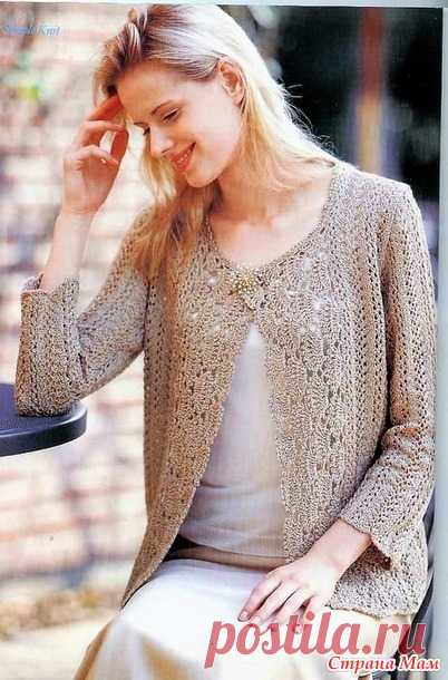 Openwork cardigan which spokes of a shelf are executed by a hook. - KNITTED FASHION + FOR NOT MODEL LADIES - the Country of Mothers