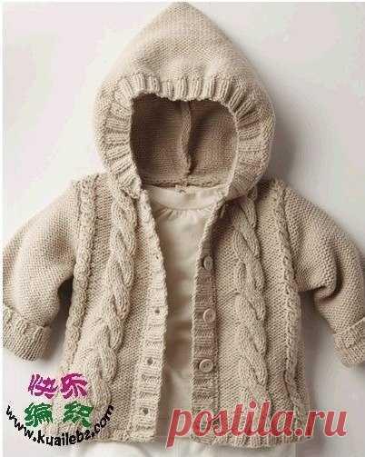 Вяжем курточку с капюшоном для малыша.
