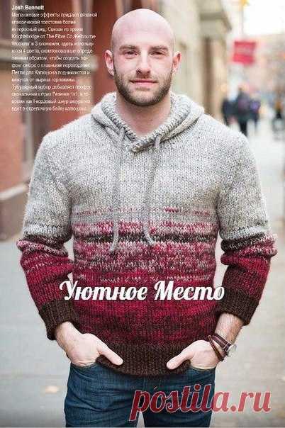 "Пуловер мужской с капюшоном ""Man's Hoodie"" by Josh Bennett #пуловер_мужской_спицами@ujutnoe_mesto_vjazanie"