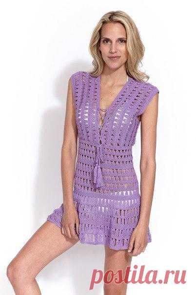 Пляжное платье как у Джениффер Энистон. Есть схема и описание.
