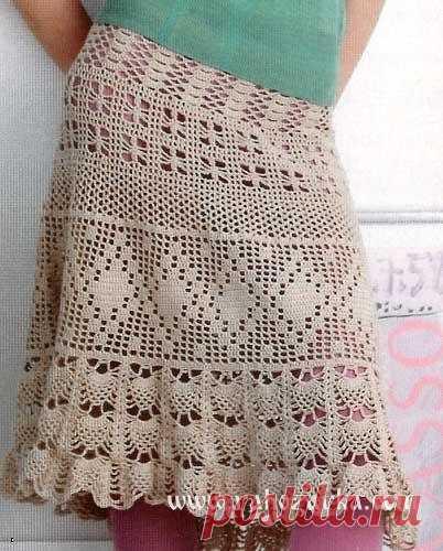 Летняя юбка крючком ажурными узорами. Связать юбку крючком своими руками