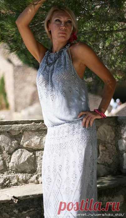 платье спицами атлантида от жаннетты мирмизетты вязали на осинке