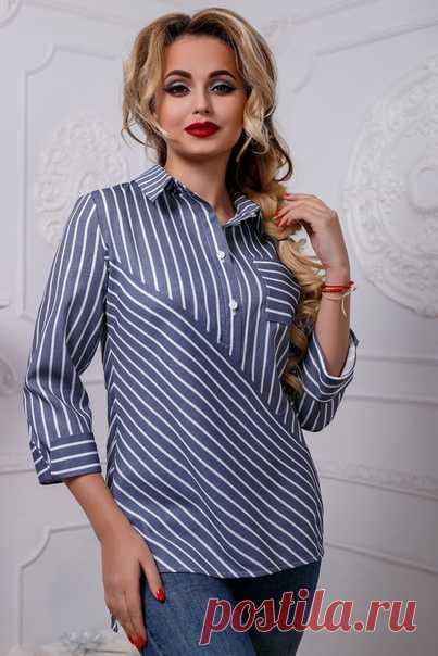 Женская рубашка прямого силуэта с разрезами по бокам, застежкой на планке, отложным воротником на стойке и рукавами 3/4, выкройка на размеры с 36 по 44 (евр.). #простыевыкройки #простыевещи #шитье #рубашка #блузка #выкройка