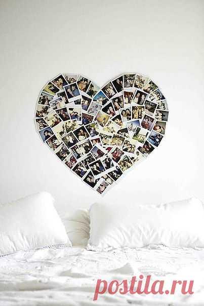 Коллаж-сердце на стене