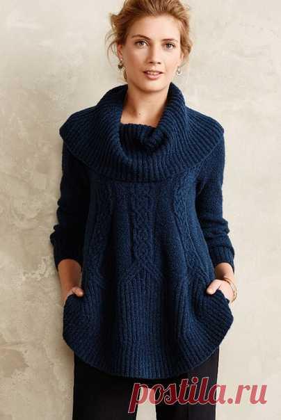 Теплая туника с арановыми вертикалями спицами Туника связана из буклированной пряжи. На фото представлена в двух цветах. #knitting #вязание_спицами #туники_спицами