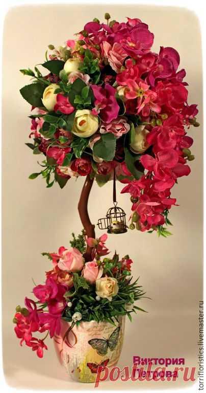 Купить Топиарий Флориана - разноцветный, топиарий, топиарий дерево счастья, топиарий ручной работы, Топиарии