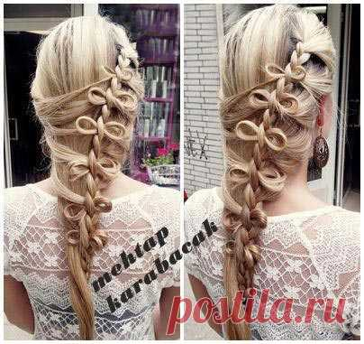 Коса-бантик для длинных прямых волос