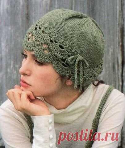 Романтичная шапочка Романтичная шапочкаРомантичная шапочка для тех, кто любит не только тепло, но и утонченную красоту.