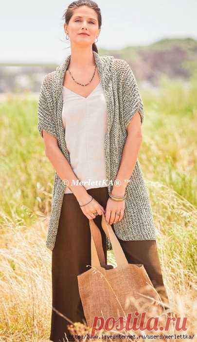 Вязание спицами - Жакет с капюшоном - идеальная летняя модель.