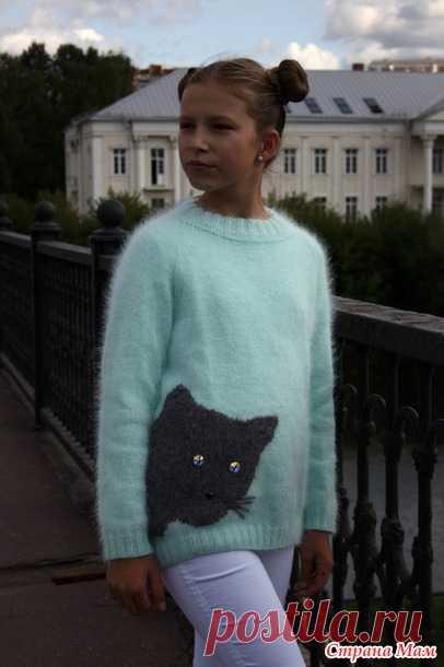 Мятный свитер с котиком - Вязание - Страна Мам
