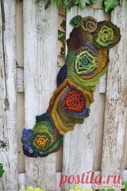 Красивый шарф крючком. Зима закончилась, но следующая не за горами... Знатоки пряжи, ау! - Страна Мам