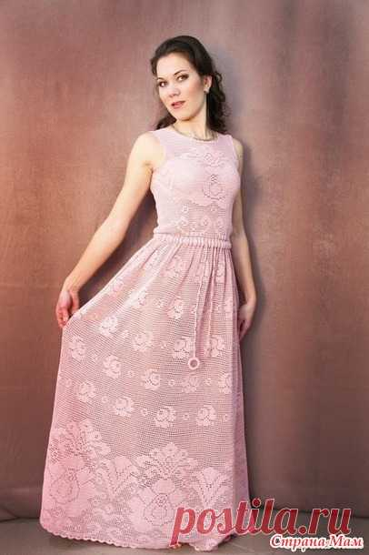 Филейное длинное платье с розами - Вяжем вместе он-лайн - Страна Мам