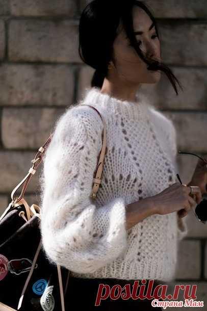 """Вязаный свитер из мохера """"Цитрус"""" или """"Апельсиновые дольки"""""""