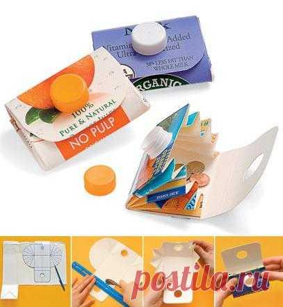 Чем занять ребенка: кошелек из упаковки тетра-пак.