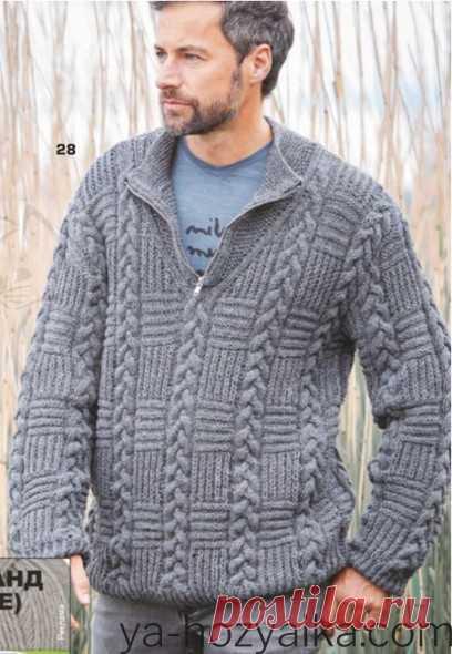 Молодежный мужской свитер спицами. Связать мужской свитер спицами схемы и описание
