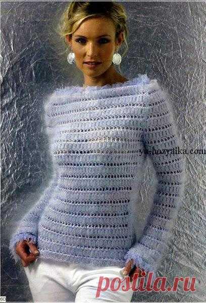 свитер крючком из мохера вязание из тонкого мохера для женщин с