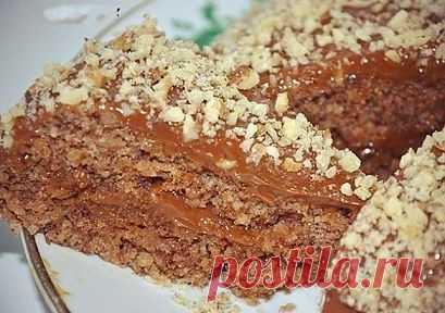 Ореховый торт без муки и масла для микроволновки или духовки..