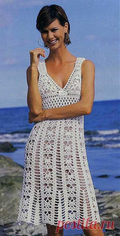 f29371d069b Сказочно красивое белое кружевное вязаное платье