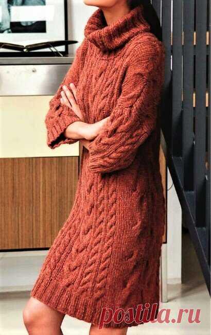 3 тёплых стильных платья, связанных спицами | Идеи рукоделия | Яндекс Дзен