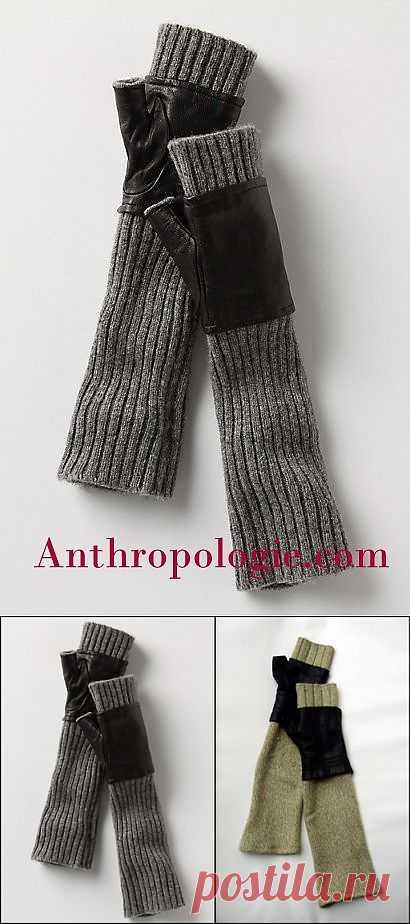 Повтор митенок с кожей Anthropoloqie (DIY) / Перчатки и варежки / Модный сайт о стильной переделке одежды и интерьера