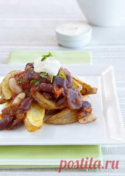 Сытное и вкусное постное блюдо - картофель с острой фасолью (для получения рецепта нажмите 2 раза на картинку)