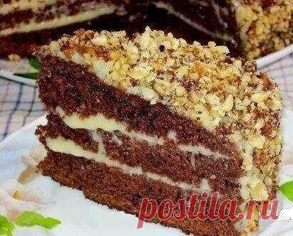 Шоколадный торт на кефире «Фантастика»  Очень простой и необычный рецепт вкусного торта.