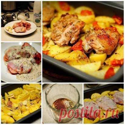 Курица маринованная в кефире, запечёная с картофелем с травами и чесноком Ингредиенты: - кефир - куриные бедра - картофель - травы - соль, перец - чеснок - томаты Приготовление: В первую очередь делаем маринад. Мелко режем чеснок, добавляем его в кефир, солим, добавляем перец и травы. Бедра маринуем в течении минут 20-25. Картофель чистим, режем дольками. Укладываем его в форму для запекания, добавляем оливковое масло, соль,перец, травы. Зубчики чеснока раздавить ребром ножа и уложить на кар