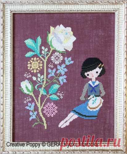 Gera! por Kyoko Maruoka - bordado de rosas (patrón de punto de cruz)