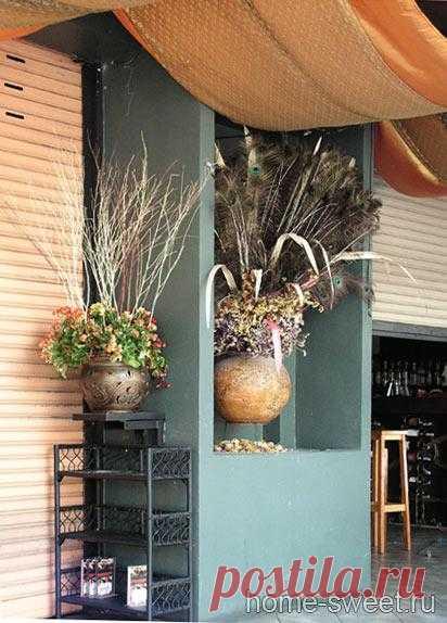 Идея для декора с сухими цветами.