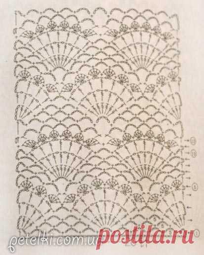 ажурные ракушки крючком схема вязания узора вязание крючком постила