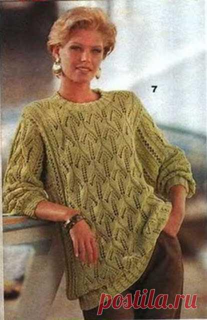 Стильный пуловер спицами   Кликните по картинке, чтобы увеличить её   Маленькая Diana 1994-09 источник