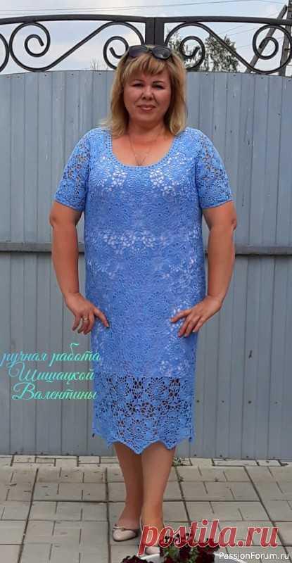 Платье из любимых мотивов крючком.. | Женская одежда крючком. Схемы и описание