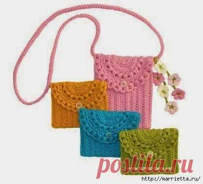 Вязание маленькой сумочки крючком. Схема